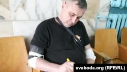Павал Левінаў у віцебскім шпіталі ў сакавіку 2017 году.