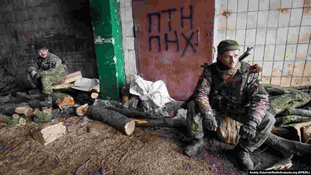 Ukrainian soldiers taking a break