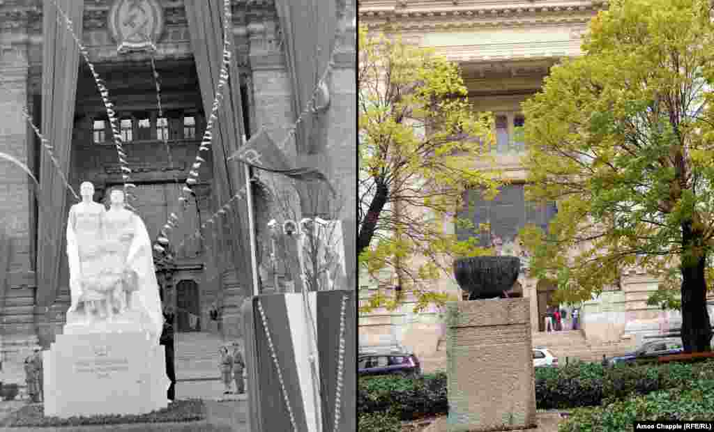 "Budapest 1949-2019 A limestone statue being unveiled on Stalin's birthday in central Budapest (top). The inscription reads, ""From the grateful Hungarian people to the great Stalin."" The statue was pushed off its plinth in 1956. A memorial to victims of the first Hungarian Revolution of 1848 stands in the spot today. 1949 photo: Fortepan/Magyar Rendor"