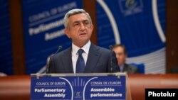 Ֆրանսիա - Հայաստանի նախագահ Սերժ Սարգսյանը ելույթ է ունենում ԵԽԽՎ-ում, Ստրասբուրգ, 2-ը հոկտեմբերի, 2013թ․