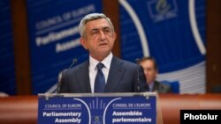 France - Armenian President Serzh Sarkisian addresses the Council of Europe Parliamentary Assembly in Strasbourg, 2Oct2013.