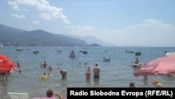Плажа во Охрид.