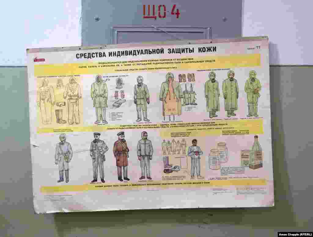 "A sign recommending the protective clothing to wear in the event of a nuclear or poison-gas attack. Kinder told RFE/RL that after the Soviet Union's demise, the fledgling Latvian government probably kept the bunker a secret in case they would need it. ""In the early '90s we [Latvians] didn't know what would happen, it really was scary."""
