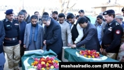 Balochistan Chief Minister Sanullah Zehri, seen here paying tribute to security personnel killed in a Quettta suicide attack in January 2016