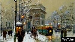 Эдуард Леон Картэс, «Трыюмфальная арка зімою»