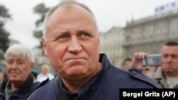 BELARUS -- Belarusian opposition leader and former presidential candidate Mikalay Statkevich attends a protest action against the Zapad (West) 2017 joint Russia-Belarus maneuvers in Minsk, Septemvber 8, 2017
