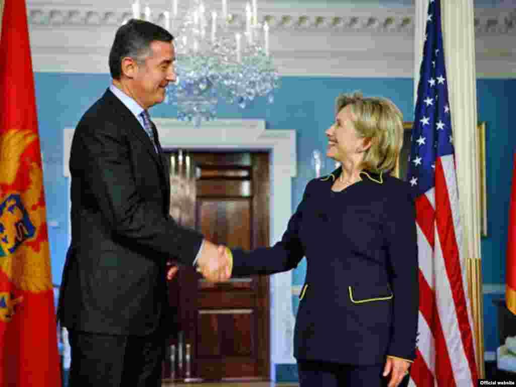 Milo Đukanović i Hillary Clinton, Washington, 21.01.2010.