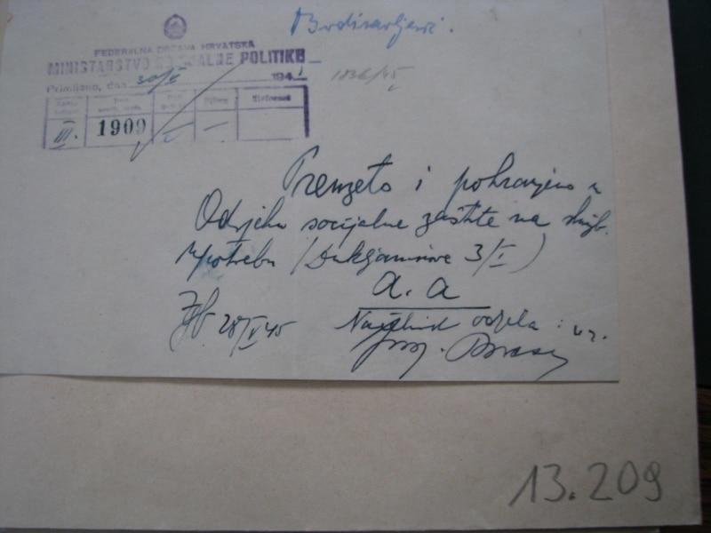 Potvrda da je Diana Budisavljević predala svu dokumentaciju