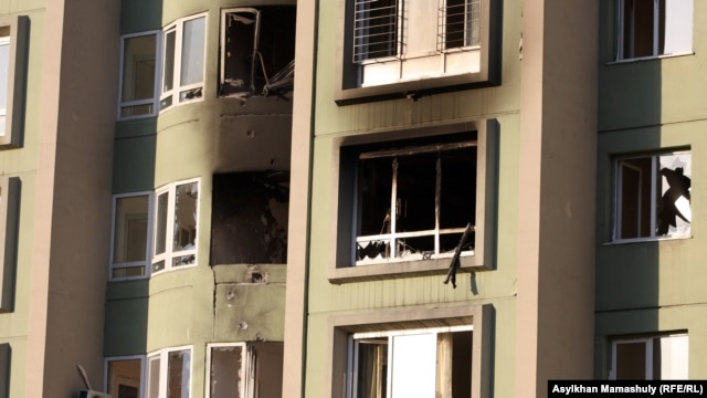 The house in Almaty which was the scene of a fatal shoot out between suspected criminals and police.