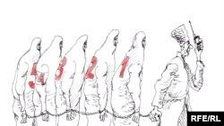 """Rus rassomi Mixail Zlatkovskiy """"G'oyalar - hayotga!"""" nomli karikaturasi bilan Checheniston Prezidenit Ramzan Qodirovning respublikda ko'p xotinlilikni joriy etish g'oyasini hajv qilgan."""
