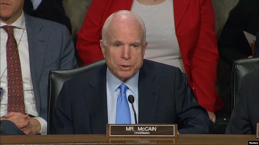 "Ahead of the vote on June 14, U.S. Senator John McCain criticized the Kremlin for what he called a ""brazen attack on our democracy."" (file photo)"