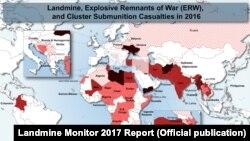 نقشه مناطقی که بالاترین آمار قربانیان مین را داشتهاند