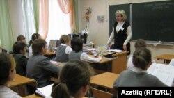 Казанның 33нче мәктәбендә татар теле дәресе бара