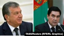 Өзбекстан президенті Шавкат Мирзияев (сол жақта) пен Түркіменстан президенті Гурбангулы Бердімұхамедов.