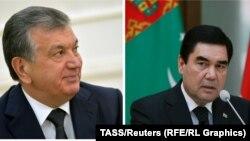 Uzbek President Shavkat Mirziyaev (left) and Turkmen President Gurbanguly Berdymukhammedov (right)