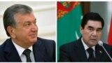 Türkmenistanyň prezidenti Gurbanguly Berdimuhamedow (s) we Özbegistanyň prezidenti Şawkat Mirziýoýew (ç)