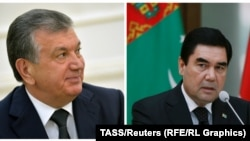 Türkmenistanyň we Özbegistanyň prezidentleri Gurbanguly Berdimuhamedow (s) we Şawkat Mirziýaýew (ç)