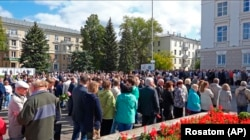 People gather in Sarov for the funerals of five Russian nuclear engineers killed by an explosion in Nyonoksa on August 12.
