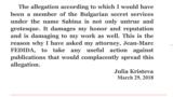 Declarația Juliei Kristeva pe site-ul ei web