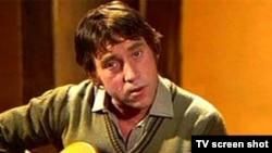Stop cadru din ultima înregistrare a lui Vîsoțki pentru porgramul Kinopanorama al postulului de televiziune sovietic Canal Unu, 22 ianuarie 1980.