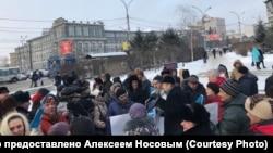 6 декабря в Новосибирске прошел пикет против строительства четвертого моста.