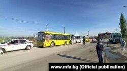 Автобусы, на которых мигранты прибыли в Кыргызстан. 7 мая 2020 года.