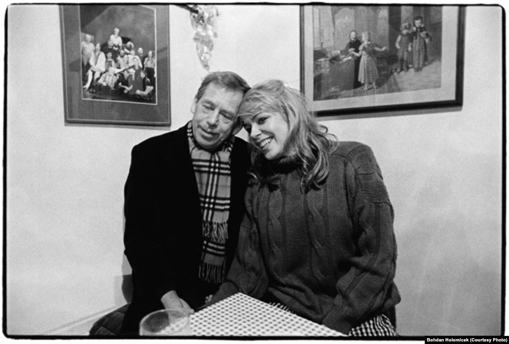 A year after Olga's death in 1996, Havel married his second wife, Dagmar. The couple sits together in Hradecek around 2000.