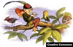 «Кривдять маленьку пташку», малюнок з англійської дитячої книжки вікторіанських часів. У деяких казках ельфи не настільки милі і вміють докучати тим, хто їм не подобається