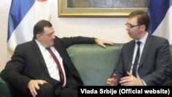 Milorad Dodik i Aleksandar Vučić na sastanku u Beogradu, 20. januar 2014.