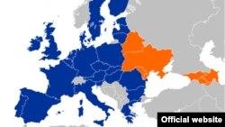 Мапа краінаў «Усходняга партнэрства»