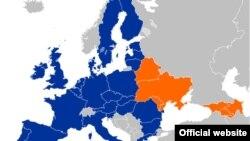 Карта Евросоюза и шести стран-участниц программы «Восточное партнерство»