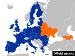 Карта Евросоюза и стран-участниц программы ЕС «Восточное партнерство»
