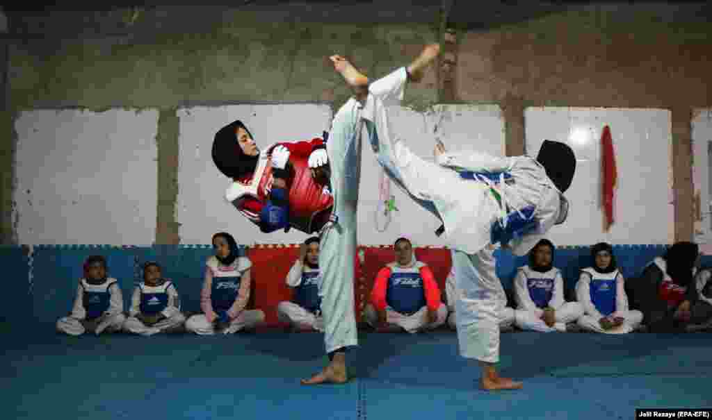 Afghan girls practice tae kwon do during a martial-arts class in Herat. For nearly two decades during Taliban rule in Afghanistan, sports and games including boxing, soccer, volleyball, kite flying, and chess had been banned as immoral and unlawful. (epa-EFE/Jalil Rezayee)​