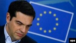 Բելգիա - Հունաստանի վարչապետ Ալեքսիս Ցիպրասը Բրյուսելում ճեպազրույցի ժամանակ, 4-ը փետրվարի, 2015թ․