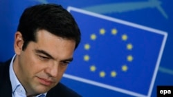 Belgium -- Greek Prime Minister Alexis Tsipras gives a press briefing at the end of the meeting with President of the European Parliament at the European Parliament in Brussels, February 4, 2015