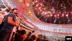 Fireworks explode during the lavish opening ceremony for the 2015 European Games at the Baku Olympic Stadium in Azerbaijan.