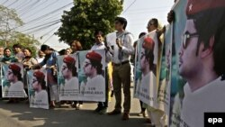 Members of a Pakistani civil-society group demonstrate against the killing of university student Mohammad Mashal Khan last year