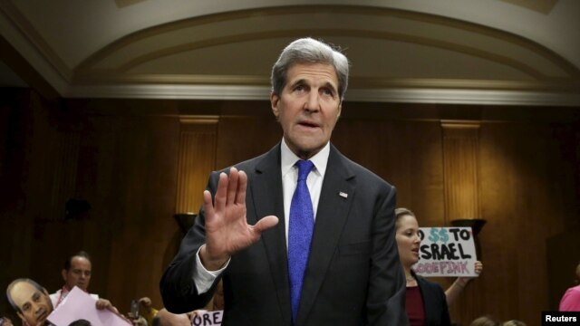 U.S.  Secretary of State John Kerry before the Senate Foreign Relations Committee on February 23.