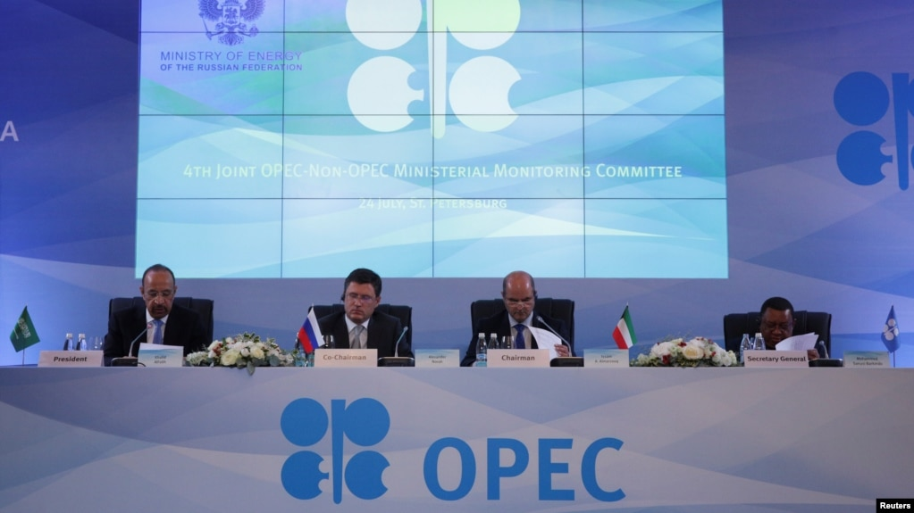 Saudi Arabian Energy Minister Khalid al-Falih, Russian Energy Minister Aleksandr Novak, and Kuwaiti Oil Minister Essam al-Marzouq attend meeting in St. Petersburg on July 24.