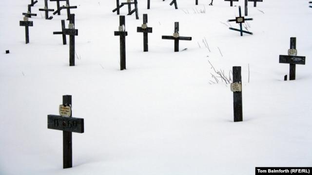 A cemetery for victims of the Gulag in Vorkuta in Russia's Far North