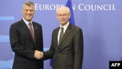 Nga takimi i sotëm i kryeministrit të Kosovës, Hashim Thaçi, dhe kryetarit të Këshillit Evropian, Herman van Rompuy...
