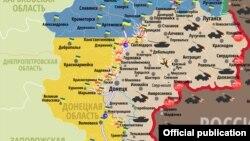 Ruska mapa o borbenim zonama na istoku Ukrajine od 7. marta 2017.