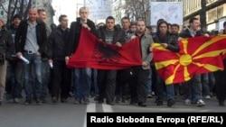 Protestë kundër brutaliteti policor në Shkup, më 28 shkurt, pas vrasjes së dy të rinjëve shqiptarë në Gostivar