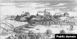 На гравюры Томаша Макоўскага (1600 год) Фара Вітаўта ўверсе ў цэнтры, гэта самы высокі будынак