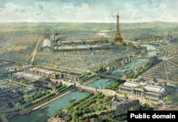 A painting showing the mostly temporary buildings of the Paris Exposition, which was open from spring to autumn in 1900