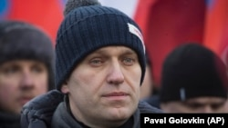 Opposition leader Aleksei Navalny attends a rally in memory of opposition leader Boris Nemtsov.