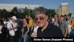Romanian actors protest in Bucharest on June 30.