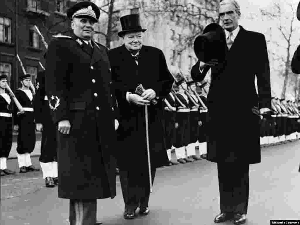 Tito (left) with British Prime Minister Winston Churchill and Foreign Secretary Anthony Eden in London in 1953. Tito was the first communist leader to set foot on British soil.