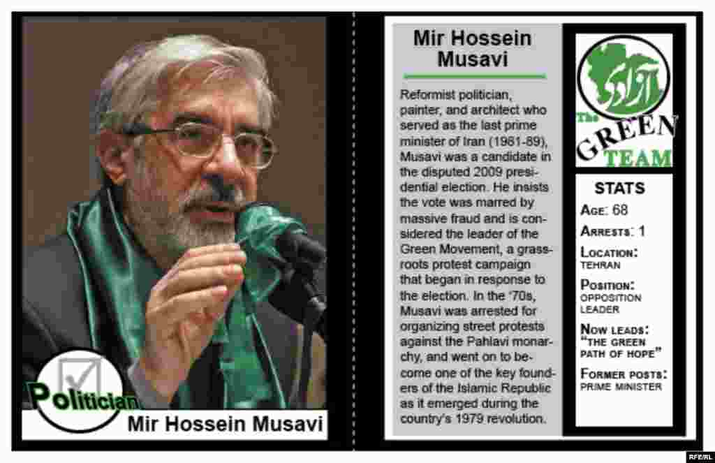 An RFE/RL primer, in the form of mock trading cards, on some key figures within the Green Movement that emerged after Iran's disputed 2009 election. Graphics and text by Kristin Deasy