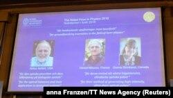 Нобелдин физика боюнча 2018-жылкы лауреаттары Артур Эшкин, Жерар Мурр жана Донна Стрикланд.